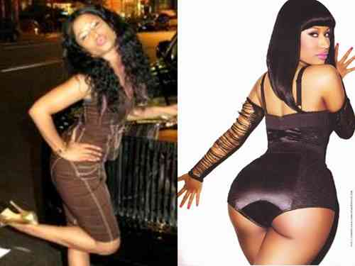 A picture of Nicki Minaj before and after butt augmentation