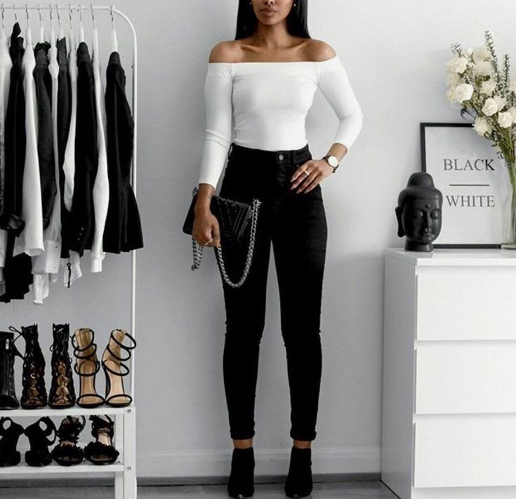 black jeans with a white top